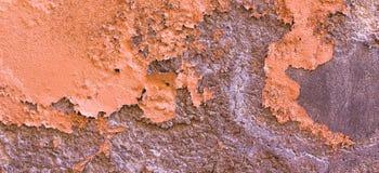 Skadad målad textur för bakgrund för baner för vägg för apelsinbrunt gammal Royaltyfri Foto