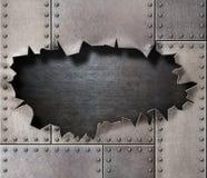 Skadad metallharnesk med sönderriven hålbakgrund royaltyfri illustrationer