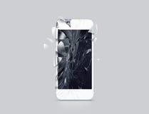 Skadad mobiltelefonskärm, spridda skärvor, tolkning 3d vektor illustrationer
