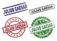 Skadade texturerade JULIUS CAESAR Stamp Seals stock illustrationer