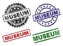 Skadade texturerade MUSEUMstämpelskyddsremsor vektor illustrationer