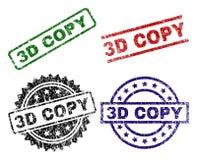Skadade texturerade skyddsremsastämplar för KOPIA 3D stock illustrationer