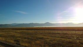 Skadar湖和山看法在早晨薄雾从一列通过的火车 免版税库存图片