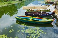 Skadar lake, Montenegro. Tourist boats in town Virpazar. Royalty Free Stock Images