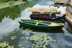 Skadar lake in Montenegro. Tourist boats in town Virpazar. Royalty Free Stock Photos