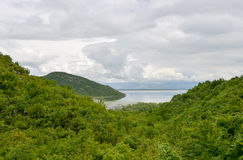 Skadar Lake, Montenegro. View of the Skadar Lake with the nearby hills Royalty Free Stock Photo