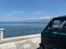 Skadar lake. Lake Shkodra on the Road trip with VW transporter T3 Royalty Free Stock Image