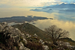 Skadar mountain lake. In the misty haze Royalty Free Stock Photography