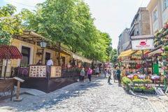 Skadarlija gata i Belgrade arkivbild