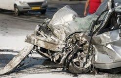 Skadat medel efter bilkrasch Royaltyfri Foto