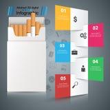 Skadlig cigarett, huggorm, rök, affärsinfographics stock illustrationer