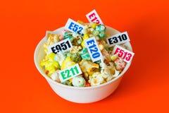 Skadliga mattillsatser Det finns flera tabeller med koden E royaltyfria foton