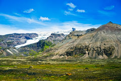 Skaftafell National Park, glacier and mountains Royalty Free Stock Image