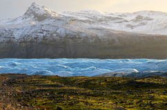 Skaftafellsjokull glaciär i Island, del av den Vatnajokull nationalparken Fotografering för Bildbyråer