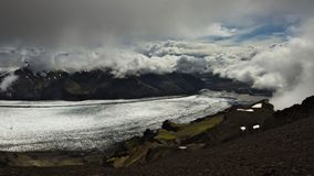 Skaftafellsjokull glacier with clouds above. royalty free stock photography
