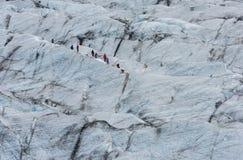 Skaftafellsjokull Glacier with Hikers, Iceland Royalty Free Stock Image
