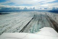 Skaftafellsjokull glacier moraine aerial view, Skaftafell National Park, Iceland Royalty Free Stock Photos