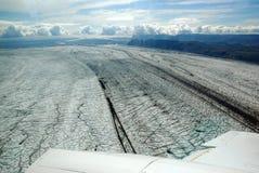 Skaftafellsjokull glacier moraine aerial view, Skaftafell National Park, Iceland Stock Photo