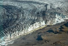 Skaftafellsjokull glacier moraine aerial view, Skaftafell National Park, Iceland Royalty Free Stock Images