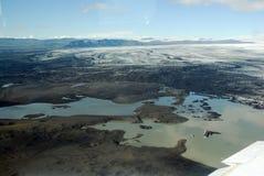 Skaftafellsjokull glacier moraine aerial view, Skaftafell National Park, Iceland Royalty Free Stock Image