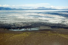 Skaftafellsjokull glacier moraine aerial view, Skaftafell National Park, Iceland Stock Photography
