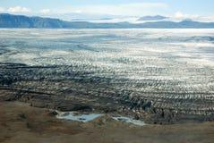 Skaftafellsjokull glacier moraine aerial view, Skaftafell National Park, Iceland Stock Images