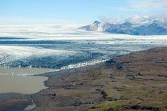 Skaftafellsjokull glacier moraine aerial view, Skaftafell National Park, Iceland Stock Photos