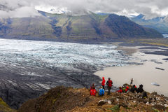 Skaftafellsjokull Island - Juli 27, 2014 Royaltyfri Fotografi
