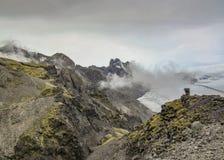 Skaftafellsjokullgletsjer: de gletsjertong met ijs en de sneeuw glijden onderaan de bergvallei in Skaftafell, Zuid-IJsland, Europ royalty-vrije stock afbeelding