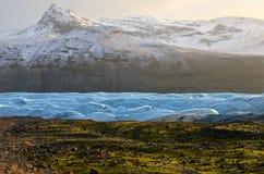 Skaftafellsjokullgletsjer in IJsland, een deel van het Nationale Park van Vatnajokull stock afbeelding