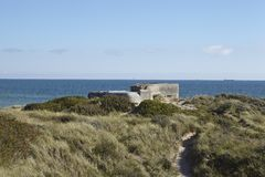 Skagen (Denmark) - Second World War Bunkers at the coast. Some second Word War bunkers are built in the sand dunes near Skagen (Denmark, North Jutland) and the Royalty Free Stock Images