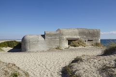 Skagen (Denmark) - Second World War Bunkers at the coast Stock Image