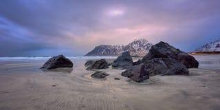 Skagsanden beach on sunset, Lofoten islands, Norway stock photos