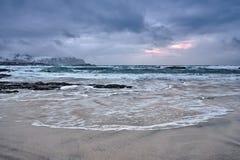 Skagsanden beach on sunset, Lofoten islands, Norway stock images