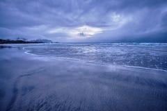 Skagsanden beach on sunset, Lofoten islands, Norway royalty free stock photography