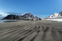 Skagsanden Beach in the winter on the Lofoten Islands Stock Photography