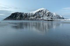 Skagsanden Beach in the winter on the Lofoten Islands Stock Photo