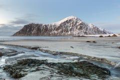 Skagsanden Beach in the winter on the Lofoten Islands Royalty Free Stock Photo