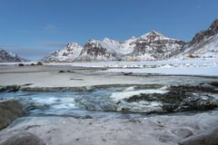 Skagsanden Beach in the winter on the Lofoten Islands Royalty Free Stock Images