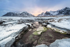 Skagsanden Beach in the winter on the Lofoten Islands Stock Photo