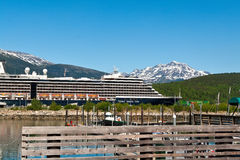 Skagway, Alaska. June 2, 2009: Holland America's ship, the Zuiderdam, in the port of Skagway. In 1971, Holland America changed from passenger transportation royalty free stock photography