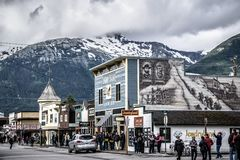 Skagway alaska in june, usa northern town near canada stock photo