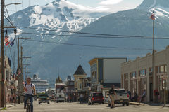 SKAGWAY, ALASKA, USA - JULY 12 - Main shopping district in the s Stock Photo