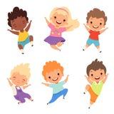Skakać dzieciaków Szczęśliwi dziecko w wieku szkolnym uśmiechają się chłopiec bawić się wektorowych postać z kreskówki dziewczyny ilustracja wektor