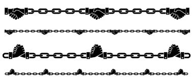 skaka det Chain symbolet för händer på isolerad backgroud Royaltyfri Fotografi