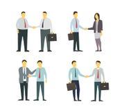Skaka för två män händer kvinna för white för affärspennstil Plana diagram för din design Royaltyfri Bild