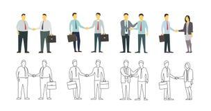 Skaka för två män händer kvinna för white för affärspennstil Plana diagram för din design Linjär variant för kontur Arkivbilder