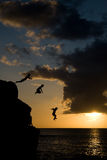 skakająca sunset wody Zdjęcia Stock