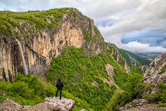 Skaklya瀑布在巴尔干山脉,保加利亚 免版税库存照片
