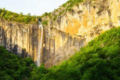 Skaklya waterfall in Balkan Mountains, Bulgaria. Skaklya is the highest waterfall on Balkan Peninsula - 141 meters. Skaklya is intermittent flowing waterfall Royalty Free Stock Images